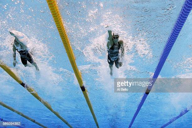 Pernille Blume of Denmark and Ranomi Kromowidjojo of the Netherlands compete in the Women's 50m Freestyle Final on Day 8 of the Rio 2016 Olympic...