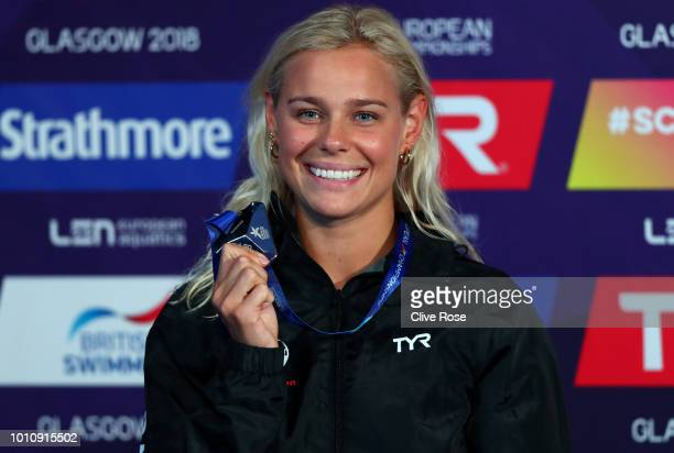Pernille Blume of Denmark celebrates victory in the Women's 50m Freestyle Swimming Final with her Silver Medal on Day three of the European...