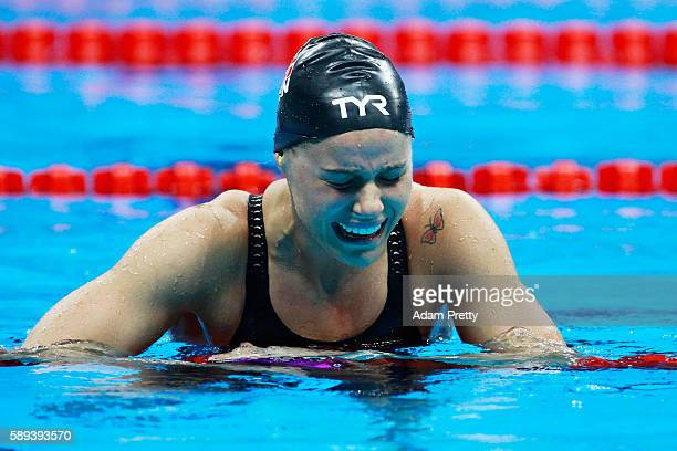 Pernille Blume of Denmark celebrates winning gold in the Women's 50m Freestyle Final on Day 8 of the Rio 2016 Olympic Games at the Olympic Aquatics...