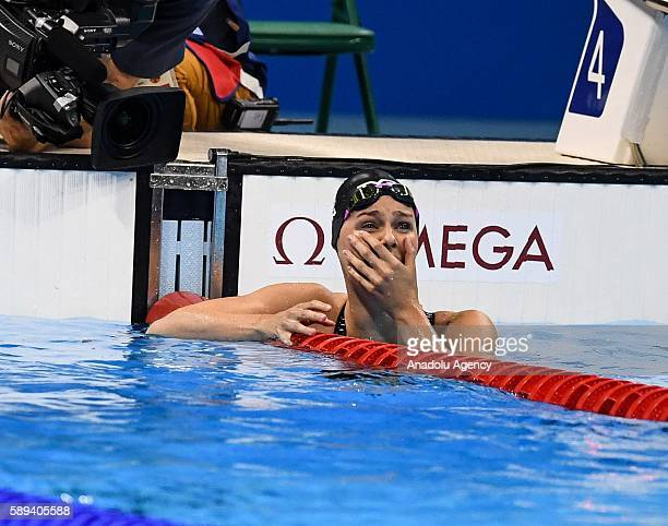 Pernille Blume of Denmark celebrates winning gold medal after the Women's 50m Freestyle Final of the Rio 2016 Olympic Games at the Olympic Aquatics...