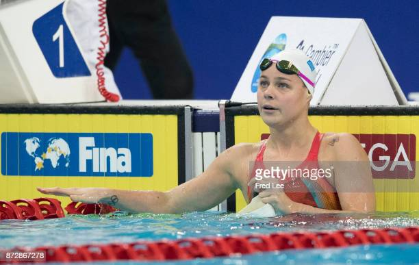 Pernille Blume of Denmark competes in the Women's 100m freestyle final on day two of the FINA swimming world cup 2017 at Water Cube on November 11...