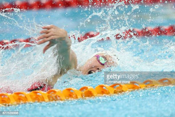 Pernille Blume of Denmark competes in the Women's 100m Individual Medley final on day one of the FINA swimming world cup 2017 at Water Cube on...