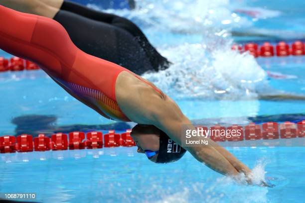 Pernille Blume of Denmark during the Women's 100m Freestyle Finals on day three of the FINA Swimming World Cup at OCBC Aquatic Centre on November 17...