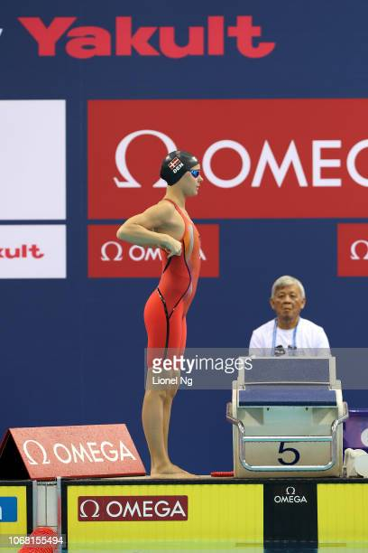 Pernille Blume of Denmark during the Women's 50m Butterfly Heats on day two of the FINA Swimming World Cup at OCBC Aquatic Centre on November 16 2018...