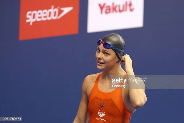 Pernille Blume of Denmark during the Women's 50m Freestyle Finals on day one of the FINA Swimming World Cup at OCBC Aquatic Centre on November 15...