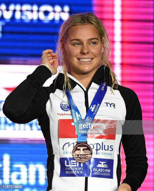 Pernille Blume of Denmark poses with her Bronze Medal during the Womens 50m Freestyle Final during Day 5 of the LEN European Short Course...
