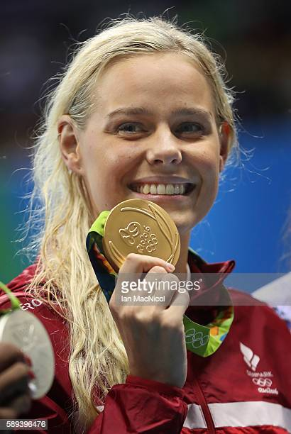 Pernille Blume of Denmark poses with her Gold medal the women's 50m Freestyle on Day 8 of the Rio 2016 Olympic Games at the Olympic Aquatics Stadium...