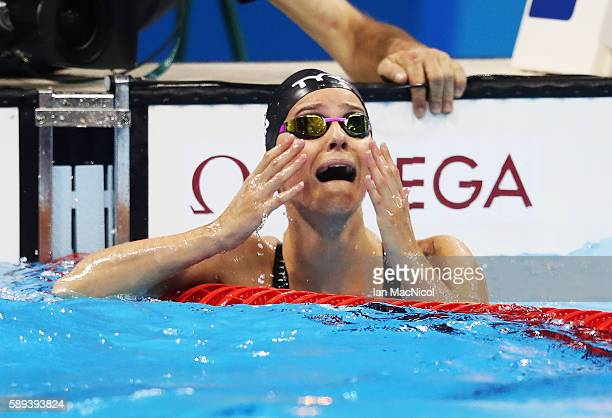 Pernille Blume of Denmark reacts after winning the women's 50m Freestyle on Day 8 of the Rio 2016 Olympic Games at the Olympic Aquatics Stadium on...