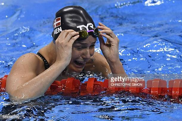 TOPSHOT Pernille Blume of Denmark reacts as she won the Women's swimming 50m Freestyle Final at the Rio 2016 Olympic Games at the Olympic Aquatics...
