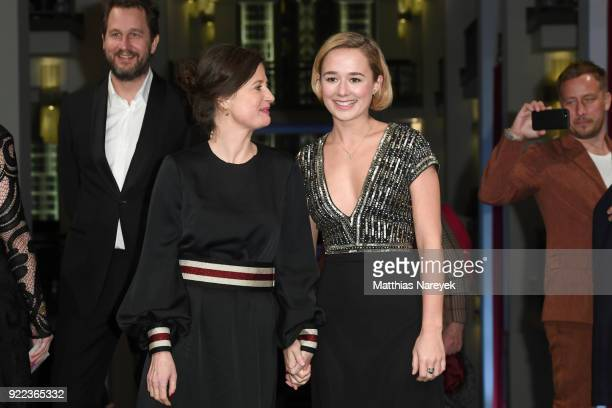 Pernille Fischer Christensen and Alba August attend the 'Becoming Astrid' premiere during the 68th Berlinale International Film Festival Berlin at...
