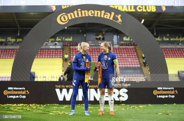 Pernille Harder and Magdalena Eriksson of Chelsea celebrate with the FA Women's Continental Tyres League Cup Trophy after the FA Women's Continental...