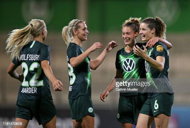 Pernille Harder Lena Goessling Felicitas Rauch and Dominique Bloodworth of VfL Wolfsburg celebrate after scoring during the UEFA Women's Champions...