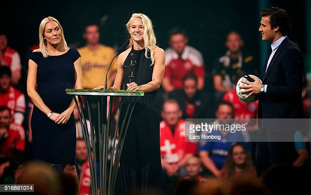 Pernille Harder Linkoping FC receives the Best Female Player of the Year Award during the Danish Football Award Show 2016 at Carlsberg Tap1 on March...