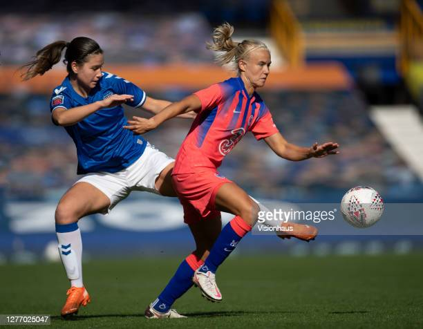 Pernille Harder of Chelsea and Damaris Egurrola of Everton in action during the Womens FA Cup Quarter Final match between Everton FC and Chelsea FC...