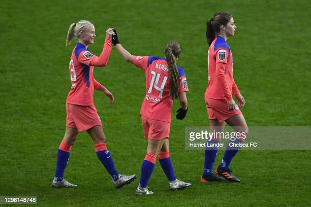 Pernille Harder of Chelsea and Fran Kirby of Chelsea celebrate following their team's victory in the Barclays FA Women's Super League match between...