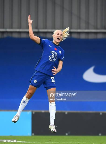 Pernille Harder of Chelsea celebrates after scoring her sides fourth goal during the Barclays FA Women's Super League match between Chelsea Women and...