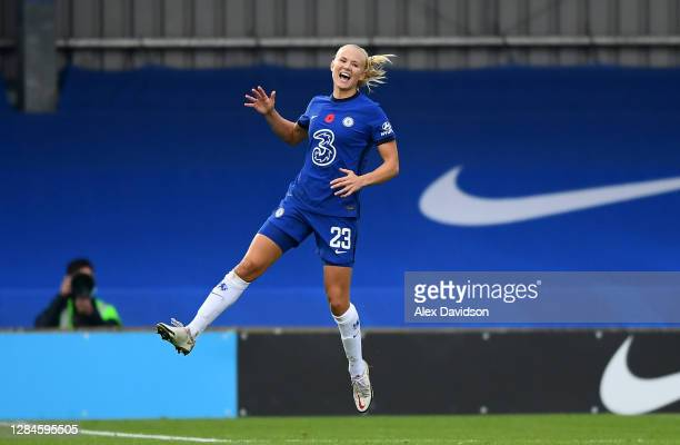 Pernille Harder of Chelsea celebrates after scoring her team's fourth goal during the Barclays FA Women's Super League match between Chelsea Women...