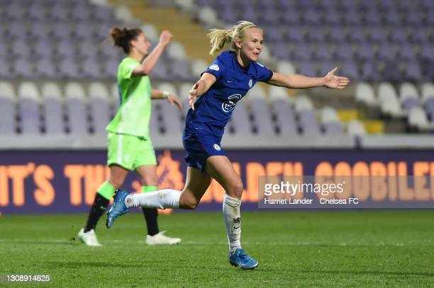 Pernille Harder of Chelsea celebrates after scoring her team's second goal during the First Leg of the UEFA Women's Champions League Quarter Final...