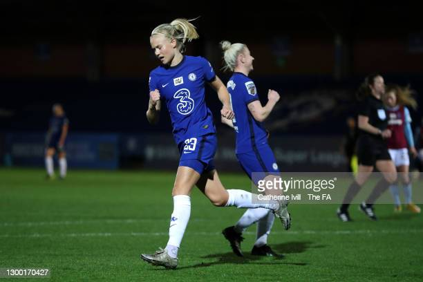 Pernille Harder of Chelsea celebrates after scoring her team's third goal during the FA Women's Continental League Cup Semi Final match between...