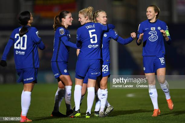 Pernille Harder of Chelsea celebrates with teammates after scoring her team's first goal during the Barclays FA Women's Super League match between...