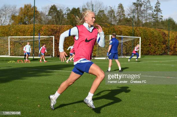 Pernille Harder of Chelsea in action during a Chelsea FC Women's Training Session at Chelsea Training Ground on November 12 2020 in Cobham England