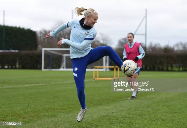 Pernille Harder of Chelsea in action during a Chelsea FC Women's Training Session at Chelsea Training Ground on January 11, 2021 in Cobham, England.