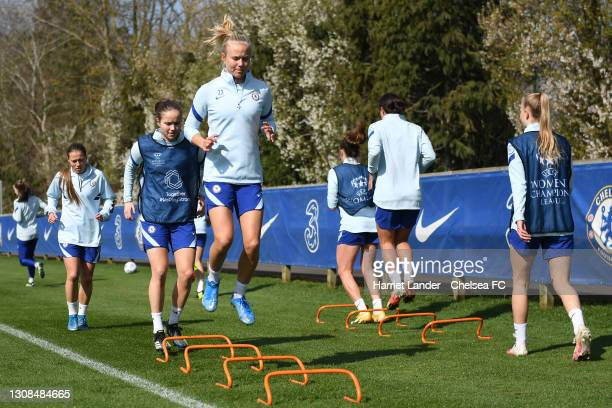 Pernille Harder of Chelsea in action during a Chelsea FC Women's Training Session at Chelsea Training Ground on March 22, 2021 in Cobham, England.