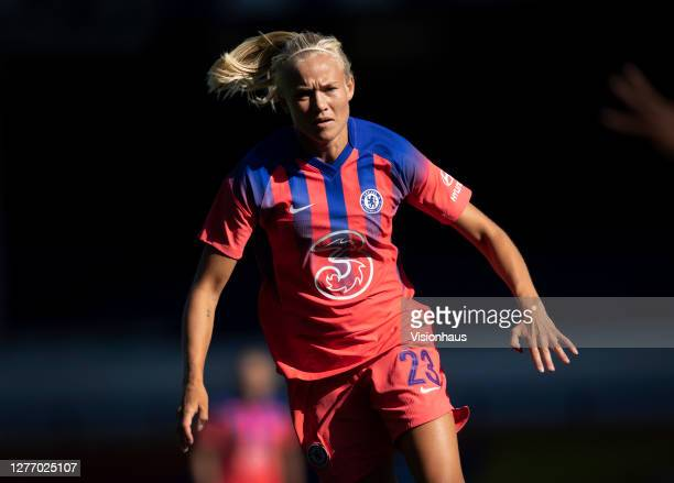 Pernille Harder of Chelsea in action during the Womens FA Cup Quarter Final match between Everton FC and Chelsea FC at Goodison Park on September 27...