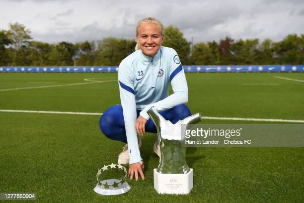 Pernille Harder of Chelsea poses for a photo with her UEFA Women's Player of the Year Award and her UEFA Women's Forward of the Year Award at Chelsea...