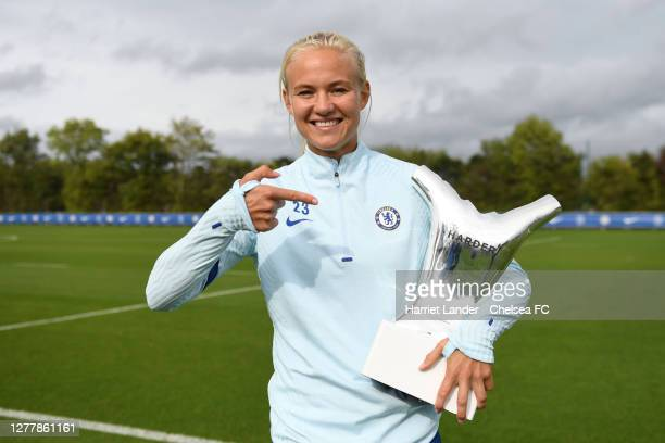 Pernille Harder of Chelsea poses for a photo with her UEFA Women's Player of the Year Award at Chelsea Training Ground on October 01 2020 in Cobham...
