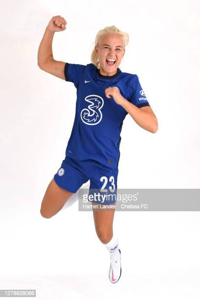 Pernille Harder of Chelsea poses for a portrait during a Chelsea FC Women's Photocall at Chelsea Training Ground on October 05 2020 in Cobham England
