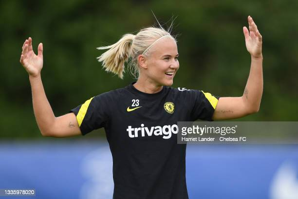 Pernille Harder of Chelsea reacts during a Chelsea FC Women's Training Session at Chelsea Training Ground on August 23, 2021 in Cobham, England.
