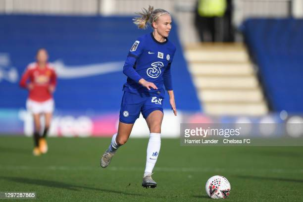 Pernille Harder of Chelsea runs with the ball during the Barclays FA Women's Super League match between Chelsea Women and Manchester United Women at...