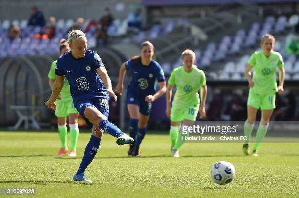Pernille Harder of Chelsea scores a penalty for her team's first goal during the Second Leg of the UEFA Women's Champions League Quarter Final match...
