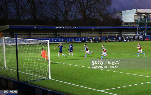 Pernille Harder of Chelsea scores her team's first goal during the FA Women's Continental League Cup Semi Final match between Chelsea and West Ham...