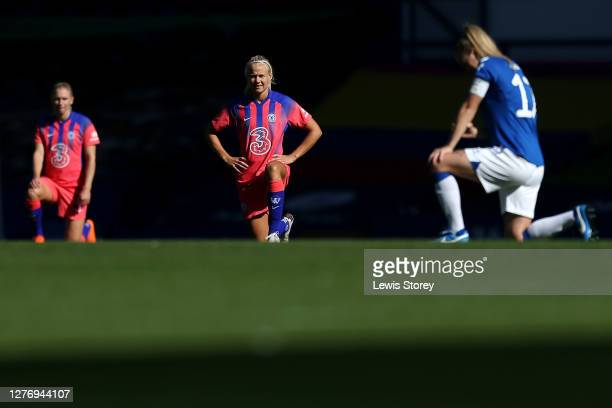 Pernille Harder of Chelsea takes a knee in support of the black lives matter movement prior to the Women's FA Cup Quarter Final match between Everton...