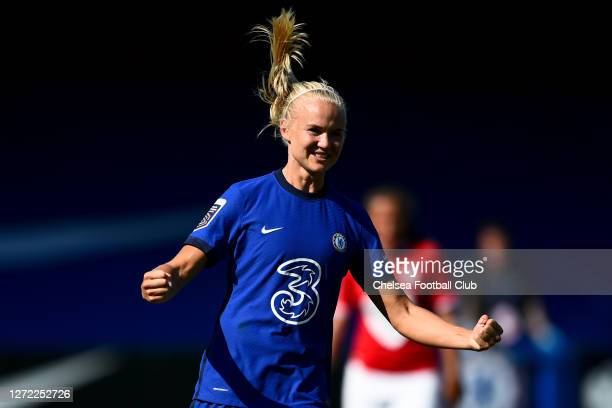 Pernille Harder of Chelsea Women celebrates during the Barclays FA Women's Super League match between Chelsea Women and Bristol City Women at...