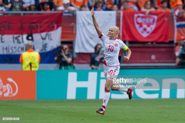 Pernille Harder of Denmark celebrates after scoring a goal during the Final match of the UEFA Women's Euro 2017 between Netherlands and Denmark at FC...