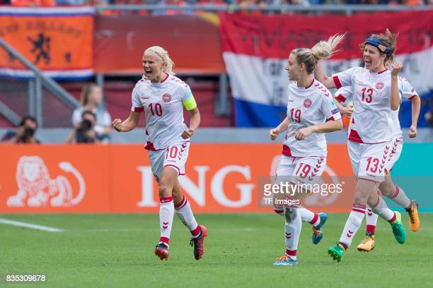 Pernille Harder of Denmark celebrates after scoring his team`s second goal during the UEFA Women's Euro 2017 final match between Denmark and...