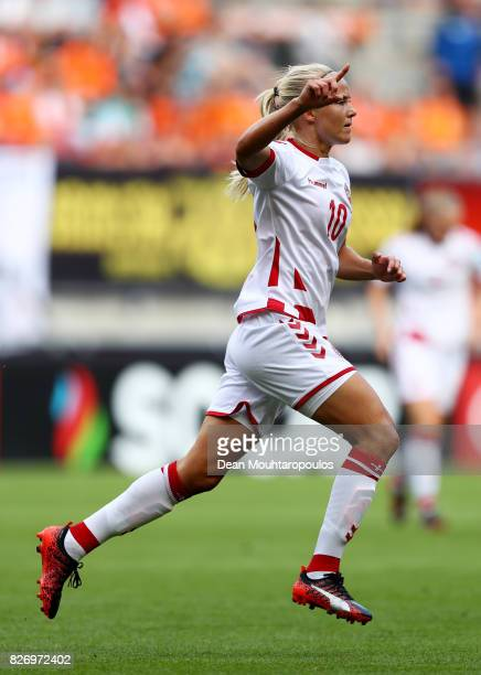 Pernille Harder of Denmark celebrates scoring her sides second goal during the Final of the UEFA Women's Euro 2017 between Netherlands v Denmark at...
