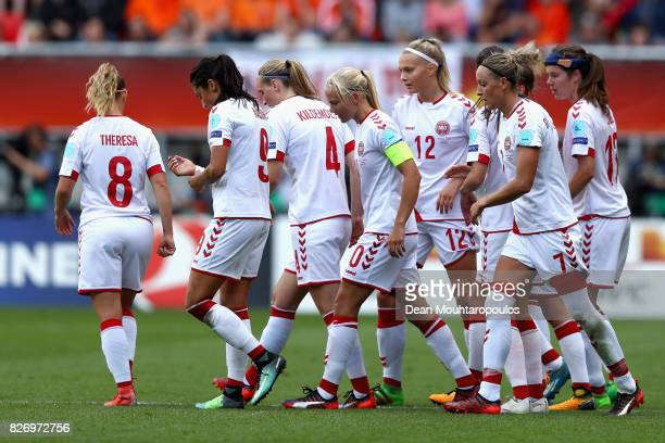 Pernille Harder of Denmark celebrates scoring her sides second goal during the Final of the UEFA Women's Euro 2017 between Netherlands v Denmark at...