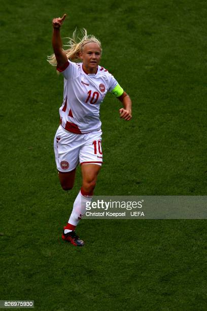Pernille Harder of Denmark celebrates the second goal during the UEFA Women's Euro 2017 Final between Denmark and Netherlands at De Grolsch Veste...