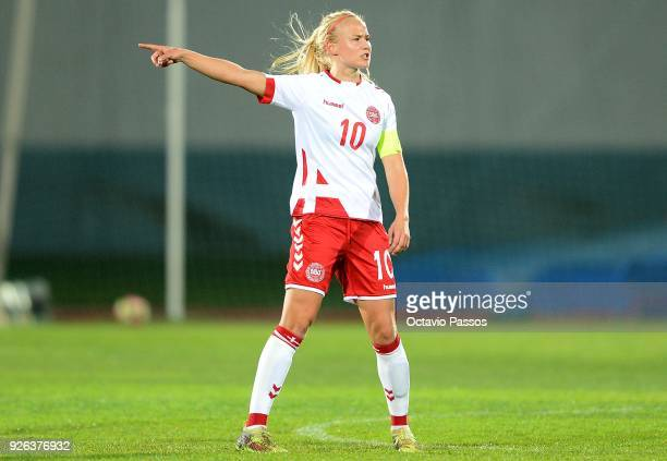 Pernille Harder of Denmark competes for the ball with reacts during the Women's Algarve Cup Tournament match between Denmark and Holland at Complexo...
