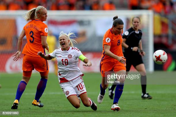 Pernille Harder of Denmark is fouled by Sherida Spitse of the Netherlands during the Final of the UEFA Women's Euro 2017 between Netherlands v...