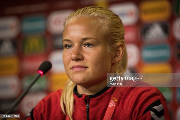 Pernille Harder of Denmark looks on during a press conference prior UEFA Women's Euro 2017 Final against Netherlands at De Grolsch Veste Stadium on...