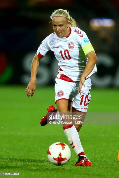 Pernille Harder of Denmark runs with the ball during the UEFA Women's Euro 2017 Group A match between Netherlands and Denmark at Sparta Stadion on...