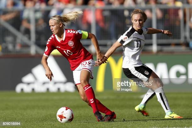 Pernille Harder of Denmark Sarah Puntigam of Austria women during the UEFA WEURO 2017 semifinal match between Denmark and Austria at the Rat Verlegh...