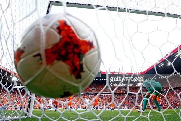 Pernille Harder of Denmark scores her sides second goal during the Final of the UEFA Women's Euro 2017 between Netherlands v Denmark at FC Twente...