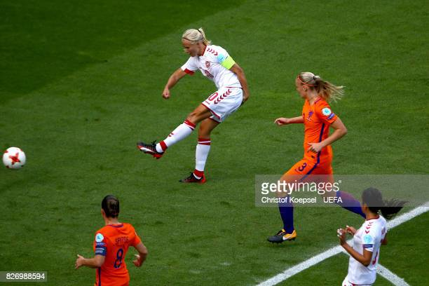 Pernille Harder of Denmark scores the second goal during the UEFA Women's Euro 2017 Final between Denmark and Netherlands at De Grolsch Veste Stadium...