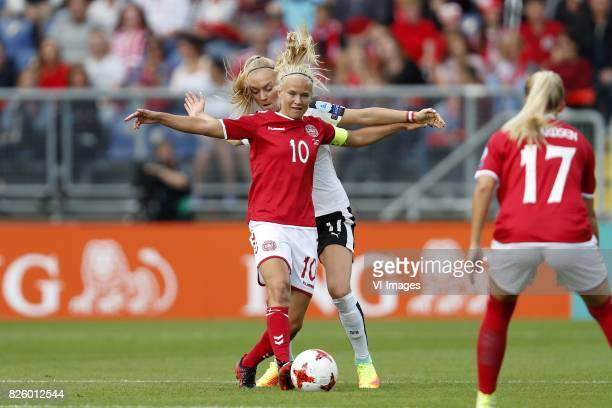 Pernille Harder of Denmark Viktoria Schnaderbeck of Austria women during the UEFA WEURO 2017 semifinal match between Denmark and Austria at the Rat...